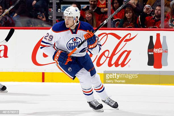 Leon Draisaitl of the Edmonton Oilers skates against the Calgary Flamres at Scotiabank Saddledome on December 31 2014 in Calgary Alberta Canada The...