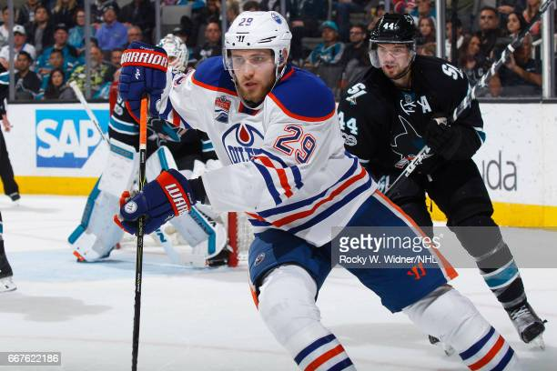 Leon Draisaitl of the Edmonton Oilers skates against the San Jose Sharks at SAP Center on April 6 2017 in San Jose California