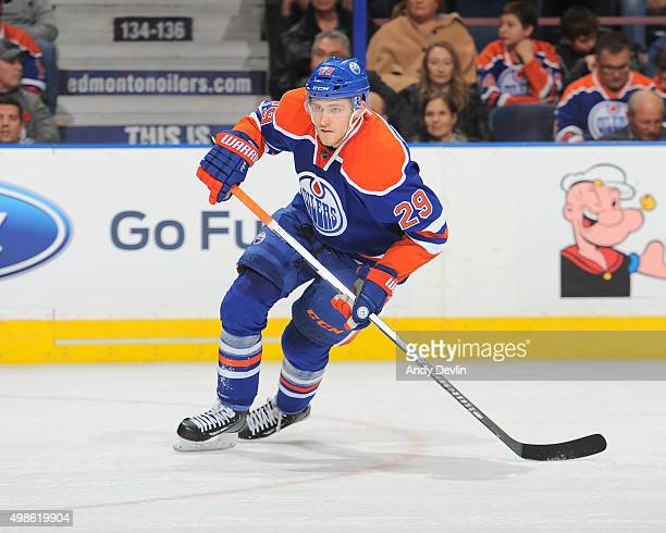 Leon Draisaitl of the Edmonton Oilers skates during a game against the Pittsburgh Penguins on November 6 2015 at Rexall Place in Edmonton Alberta...