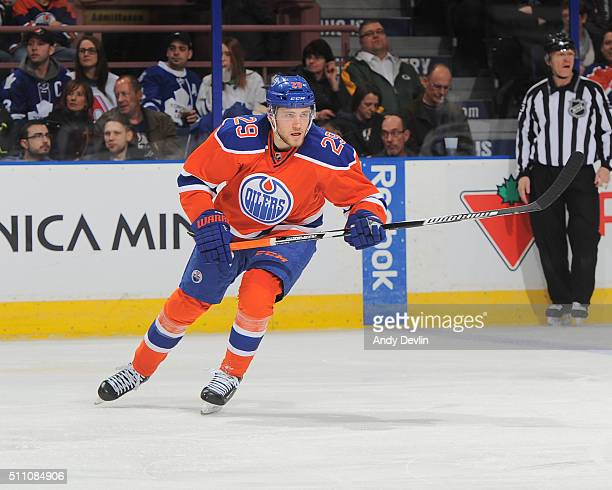 Leon Draisaitl of the Edmonton Oilers skates during a game against the Toronto Maple Leafs on February 11 2016 at Rexall Place in Edmonton Alberta...