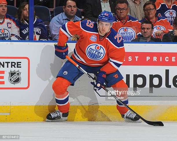 Leon Draisaitl of the Edmonton Oilers skates during a game against the Vancouver Canucks on April 6 2016 at Rexall Place in Edmonton Alberta Canada
