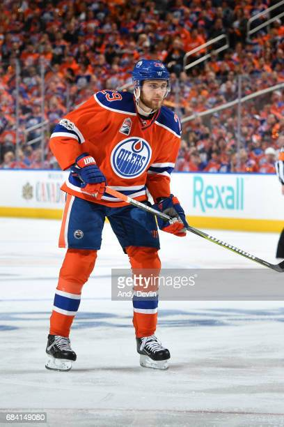 Leon Draisaitl of the Edmonton Oilers skates during Game One of the Western Conference First Round during the 2017 NHL Stanley Cup Playoffs against...