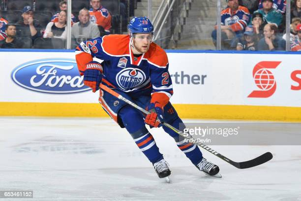 Leon Draisaitl of the Edmonton Oilers skates during the game against the San Jose Sharks on January 10 2017 at Rogers Place in Edmonton Alberta Canada