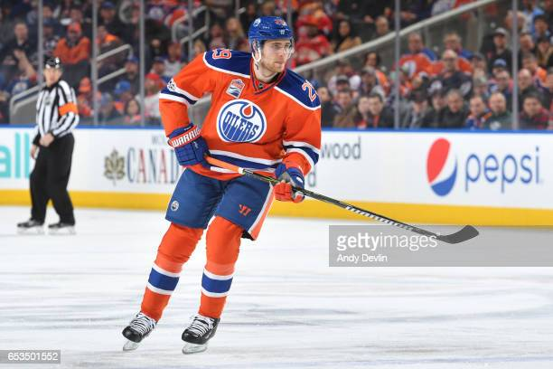 Leon Draisaitl of the Edmonton Oilers skates during the game against the Detroit Red Wings on March 4 2017 at Rogers Place in Edmonton Alberta Canada
