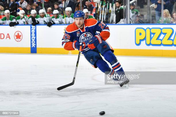Leon Draisaitl of the Edmonton Oilers skates during the game against the Dallas Stars on March 14 2017 at Rogers Place in Edmonton Alberta Canada