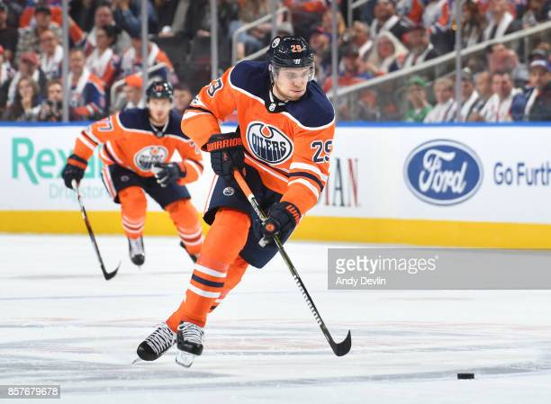 Leon Draisaitl of the Edmonton Oilers skates during the game against the Calgary Flames on October 4 2017 at Rogers Place in Edmonton Alberta Canada