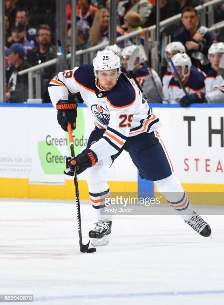 Leon Draisaitl of the Edmonton Oilers skates during the preseason game against the Vancouver Canucks on September 22 2017 at Rogers Place in Edmonton...