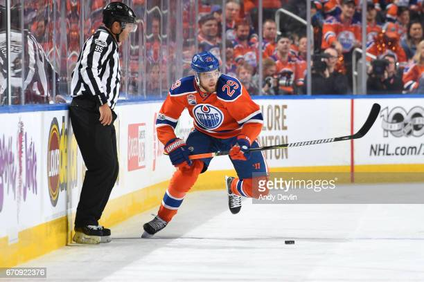 Leon Draisaitl of the Edmonton Oilers skates in Game Five of the Western Conference First Round during the 2017 NHL Stanley Cup Playoffs against the...