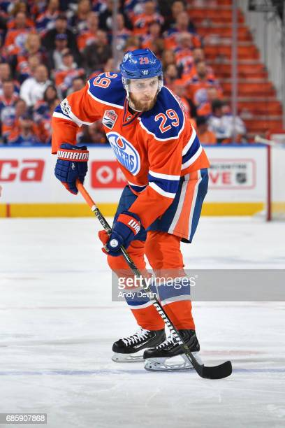 Leon Draisaitl of the Edmonton Oilers skates in Game Six of the Western Conference Second Round during the 2017 NHL Stanley Cup Playoffs against the...