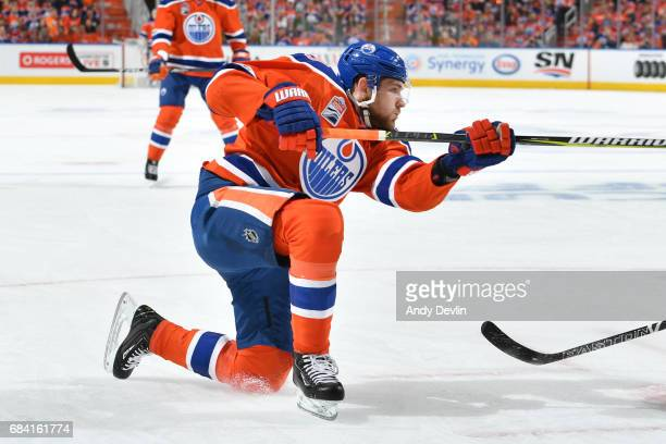 Leon Draisaitl of the Edmonton Oilers skates in Game Two of the Western Conference First Round during the 2017 NHL Stanley Cup Playoffs against the...