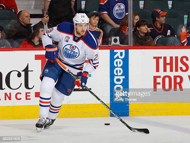 Leon Draisaitl of the Edmonton Oilers skates in warm up prior to the game against the Calgary Flames at Scotiabank Saddledome on January 21 2017 in...