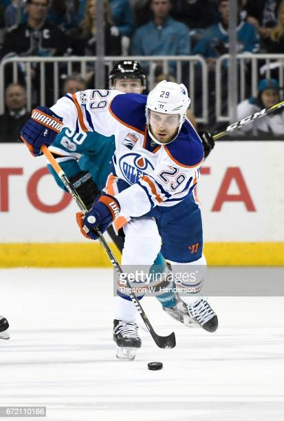 Leon Draisaitl of the Edmonton Oilers skates with control of the puck against the San Jose Sharks during the first period in Game Four of the Western...
