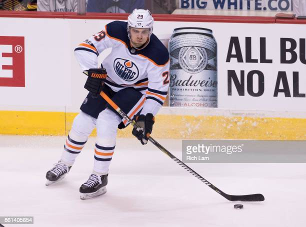 Leon Draisaitl of the Edmonton Oilers skates with the puck during NHL action against the Vancouver Canucks on October 7 2017 at Rogers Arena in...