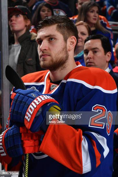 Leon Draisaitl of the Edmonton Oilers stands for the singing of the national anthem prior to the game against the Arizona Coytoes on January 16 2017...