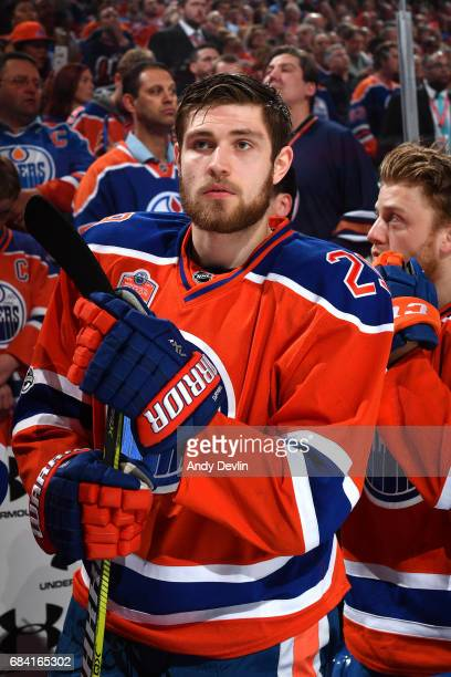 Leon Draisaitl of the Edmonton Oilers stands for the singing of the national anthem prior to Game Five of the Western Conference First Round during...