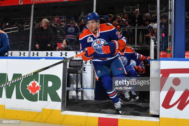 Leon Draisaitl of the Edmonton Oilers steps onto the ice prior to the game against the New York Islanders on March 7 2017 at Rogers Place in Edmonton...