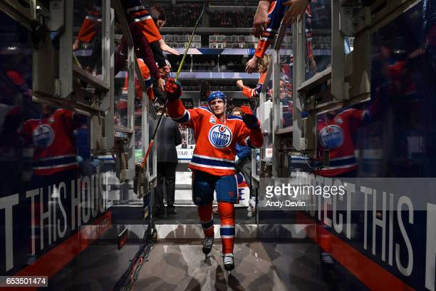 Leon Draisaitl of the Edmonton Oilers walks to the dressing room prior to the game against the Detroit Red Wings on March 4 2017 at Rogers Place in...