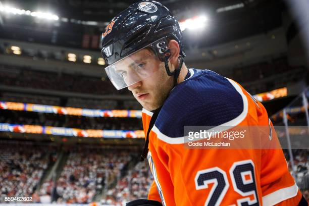 Leon Draisaitl of the Edmonton Oilers warms up against the Calgary Flames at Rogers Place on October 4 2017 in Edmonton Canada