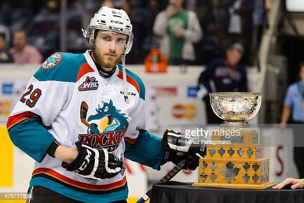 Leon Draisaitl of the Kelowna Rockets is awarded the Stafford Smythe Memorial Trophy for the most valuable player during the 2015 Memorial Cup...