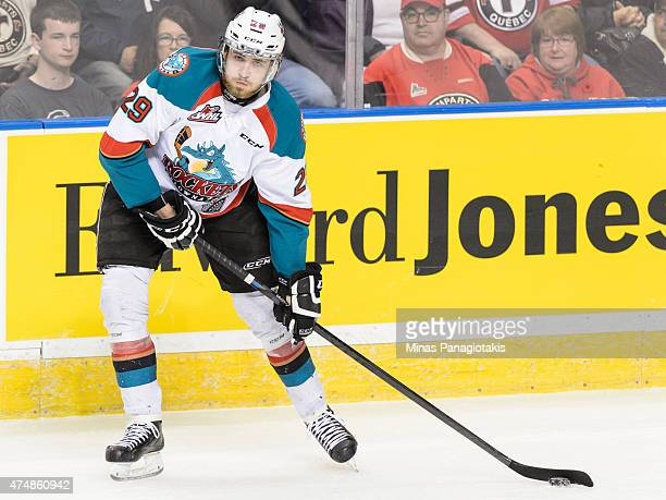 Leon Draisaitl of the Kelowna Rockets looks to play the puck in Game One during the 2015 Memorial Cup against the Quebec Remparts at the Pepsi...