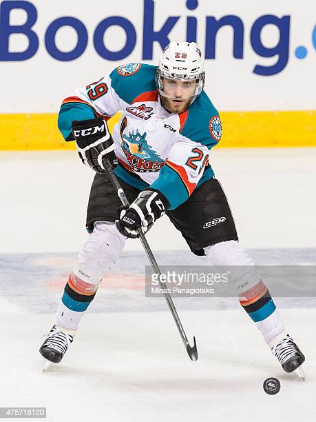 Leon Draisaitl of the Kelowna Rockets plays the puck during the 2015 Memorial Cup Championship against the Oshawa Generals at the Pepsi Coliseum on...