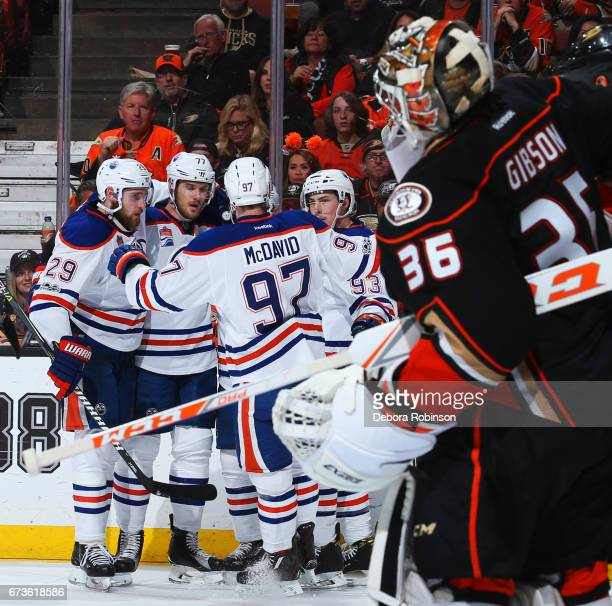Leon Draisaitl Oscar Klefbom Ryan NugentHopkins and Connor McDavid of the Edmonton Oilers celebrate a goal in the second period against John Gibson...