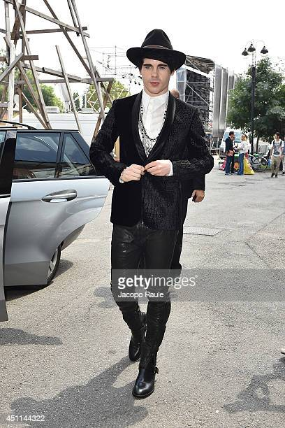Leon Else arrives at the Roberto Cavalli show as part of Milan Fashion Week Menswear Spring/Summer 2015 on June 24 2014 in Milan Italy
