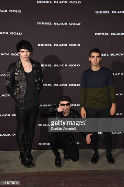 Leon Else Bob Rifo and Joe Jonas attend the Diesel Black Gold Show as part of Milan Fashion Week Menswear Spring/Summer 2015 on June 23 2014 in Milan...
