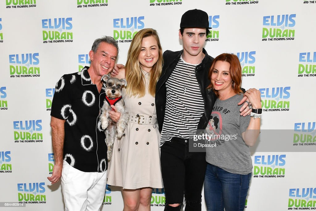 Leon Else (2nd R) poses with (L-R) Elvis Duran, Bethany Watson, and Danielle Monaro during his visit to 'The Elvis Duran Z100 Morning Show' at Z100 Studio on May 18, 2017 in New York City.