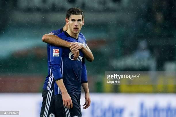 Leon Goretzka and Franco Matias Di Santo of Schalke react after the Bundesliga match between Borussia Moenchengladbach and FC Schalke 04 at...