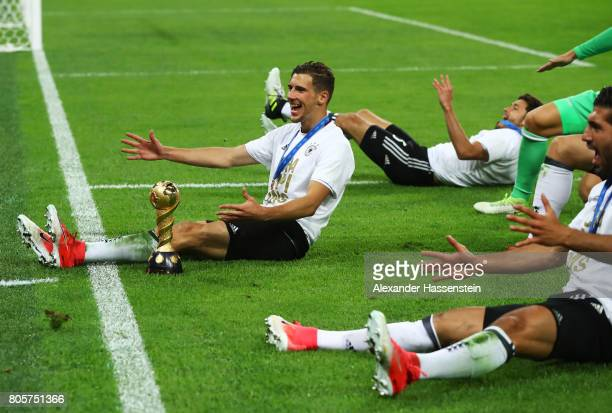 Leon Goretzka and Germany celebrate with the trophy after the FIFA Confederations Cup Russia 2017 Final between Chile and Germany at Saint Petersburg...