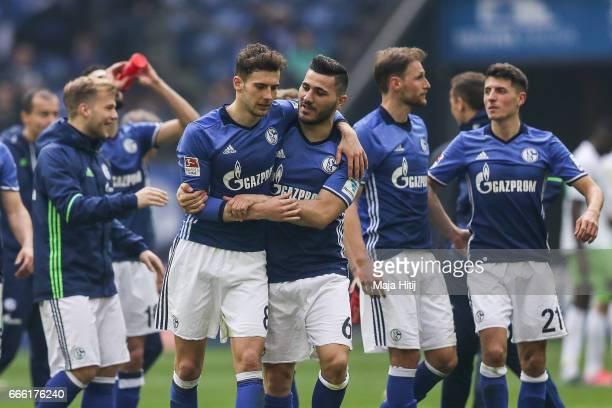 Leon Goretzka and Sead Kolasinac of Schalke celebrate after the Bundesliga match between FC Schalke 04 and VfL Wolfsburg at VeltinsArena on April 8...
