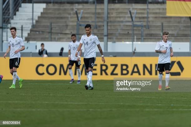 Leon Goretzka Davie Selke and Max Meyer of Germany react after the U21 International Friendly match between Germany U21 and Portugal U21 at...