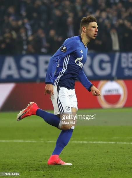 Leon Goretzka of FC Schalke 04 celebrates as he scores their first goal during the UEFA Europa League quarter final second leg match between FC...