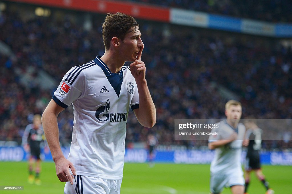 Leon Goretzka of FC Schalke 04 celebrates the first goal during the Bundesliga match between Bayer Leverkusen and FC Schalke 04 at BayArena on February 15, 2014 in Leverkusen, Germany.