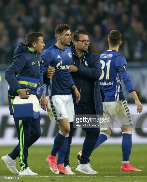 Leon Goretzka of FC Schalke 04 leaves the pitch after an injury during the UEFA Europa League second leg quarter final soccer match between FC...