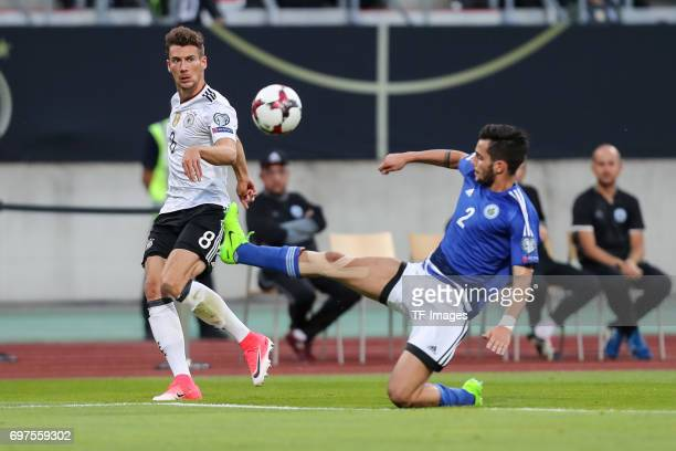 Leon Goretzka of Germany and Davide Cesarini of San Marino battle for the ball during the FIFA 2018 World Cup Qualifier between Germany and San...