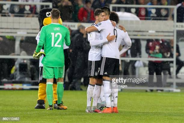 Leon Goretzka of Germany and Leroy Sane of Germany celebrate their winduring the FIFA 2018 World Cup Qualifier between Germany and Azerbaijan at...