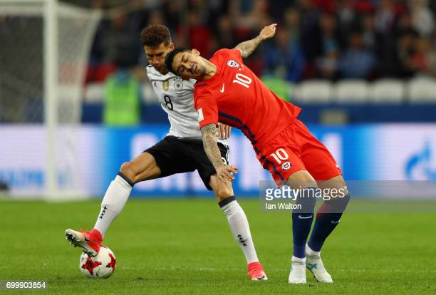 Leon Goretzka of Germany and Pablo Hernandez of Chile battle for possession during the FIFA Confederations Cup Russia 2017 Group B match between...