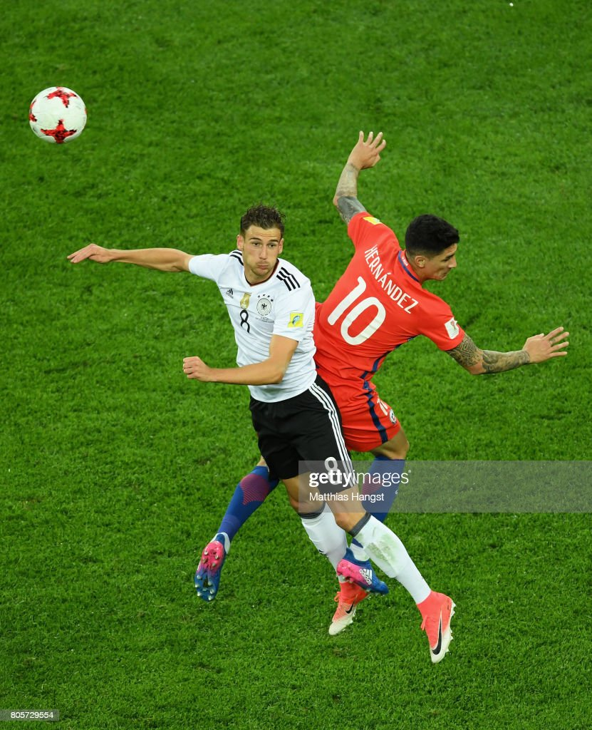 Leon Goretzka of Germany and Pablo Hernandez of Chile battle to win a header during the FIFA Confederations Cup Russia 2017 Final between Chile and Germany at Saint Petersburg Stadium on July 2, 2017 in Saint Petersburg, Russia.