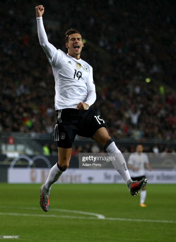 Leon Goretzka of Germany celebrates after he scores the opening goal during the FIFA 2018 World Cup Qualifier between Germany and Azerbaijan at Fritz-Walter-Stadion on October 8, 2017 in Kaiserslautern, Rhineland-Palatinate.