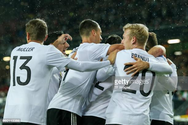 Leon Goretzka of Germany celebrates after scoring his team`s first goal during the FIFA 2018 World Cup Qualifier between Germany and Azerbaijan at...