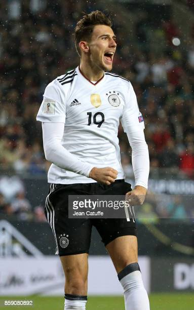 Leon Goretzka of Germany celebrates his goal during the FIFA 2018 World Cup Qualifier between Germany and Azerbaijan at FritzWalter Stadium on...