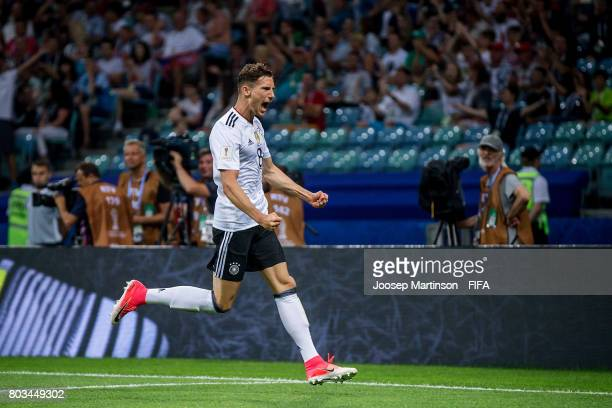 Leon Goretzka of Germany celebrates his second goal during FIFA Confederations Cup Russia semifinal match between Germany and Mexico at Fisht Olympic...