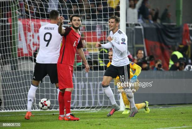 Leon Goretzka of Germany celebrates his second goal during the FIFA 2018 World Cup Qualifier between Germany and Azerbaijan at FritzWalter Stadium on...