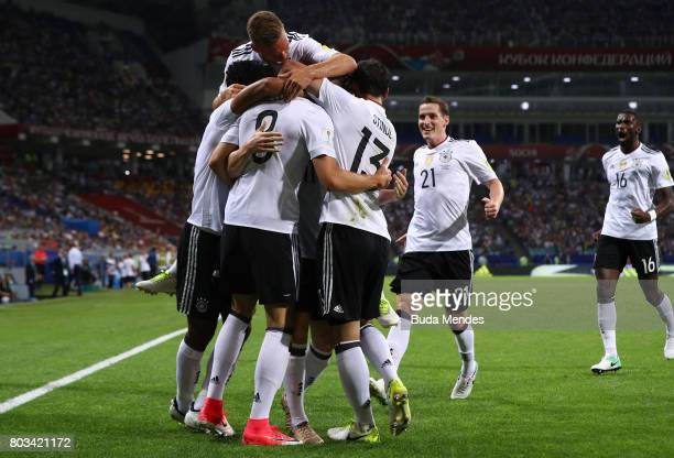 Leon Goretzka of Germany celebrates scoring his side's second goal with his team mates during the FIFA Confederations Cup Russia 2017 SemiFinal...