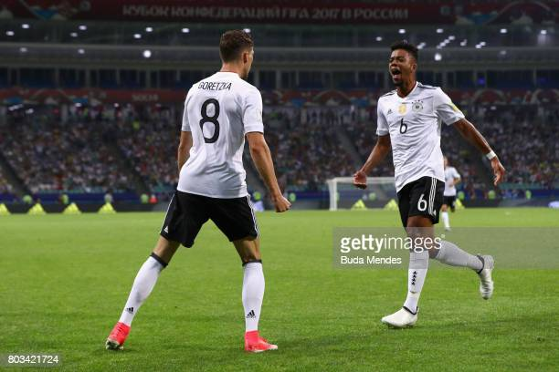 Leon Goretzka of Germany celebrates scoring his side's second goal with his team mate Benjamin Henrichs during the FIFA Confederations Cup Russia...