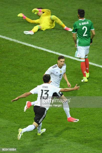 Leon Goretzka of Germany celebrates scoring the opening goal during the FIFA Confederations Cup Russia 2017 SemiFinal between Germany and Mexico at...