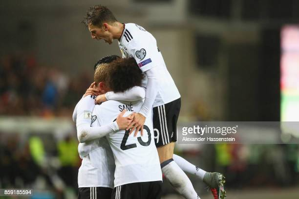Leon Goretzka of Germany celebrates the 5th goal with his team mates during the FIFA 2018 World Cup Qualifier between Germany and Azerbaijan at...