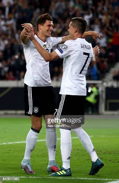 Leon Goretzka of Germany celebrates with Julian Draxler of Germany after scoring his teams fifth goal during the FIFA 2018 World Cup Qualifier...